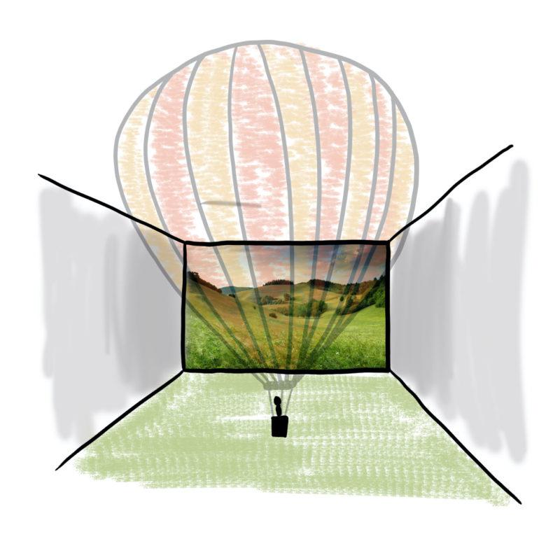 Een luchtballon in een virtuele ruimte, met behulp van AR is er een laag over de werkelijkheid heen te zien.
